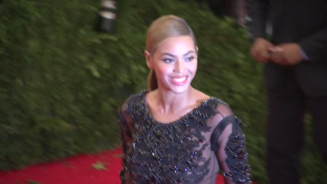 beyonce knowles at schiaparelli and prada impossible conversations costume institute gala at metropolitan museum of art on may 07 2012 in new york... - beyoncé knowles stock videos & royalty-free footage