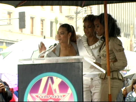 beyonce knowles of destiny's child addresses the fans at the dedication of destiny's child's star on walk of fame at hollywood boulevard in... - destiny's child stock videos & royalty-free footage