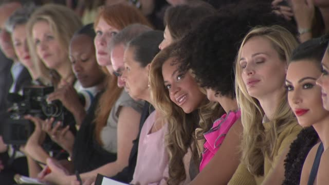 beyonce knowles, solange knowles, kim kardashian and rachel roy attend vera wang spring 2012 show during mercedes-benz fashion week spring 2012 at... - rachel roy designer label stock videos & royalty-free footage