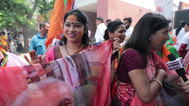 bharatiya janata party celebrations delhi india on thursday may 23 2019 - sari stock videos & royalty-free footage