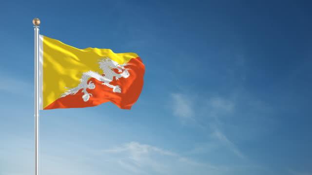 stockvideo's en b-roll-footage met 4k bhutan flag - loopbare - paalzitten