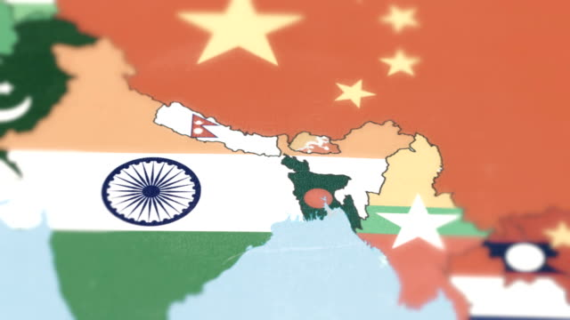 Bhutan, Nepal, Bangladesh with National Flag on World Map
