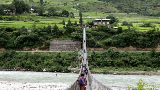 bhutan, punakha - suspension bridge stock videos & royalty-free footage