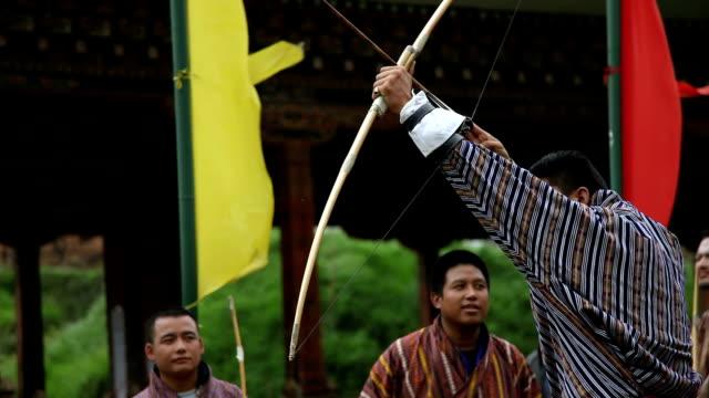 bhutan, thimphu, archery - thimphu stock videos & royalty-free footage