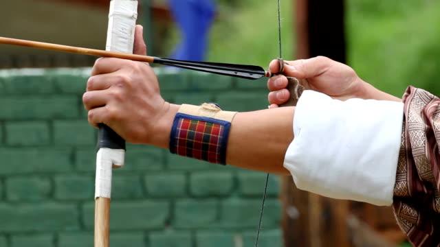 bhutan, thimphu, archery - タータンチェック点の映像素材/bロール