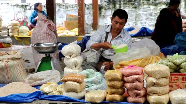 bhutan, thimphu, local market - plastic bag stock videos and b-roll footage