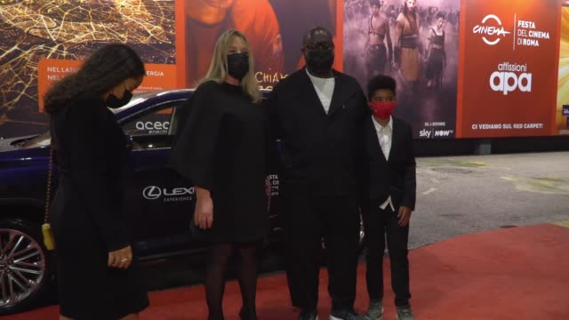 """bianca stigter, dexter mcqueen, steve mcqueen, alex mcqueen arrive on the red carpet ahead of the """"small axe"""" screening during the 15th rome film... - rome film festival stock videos & royalty-free footage"""