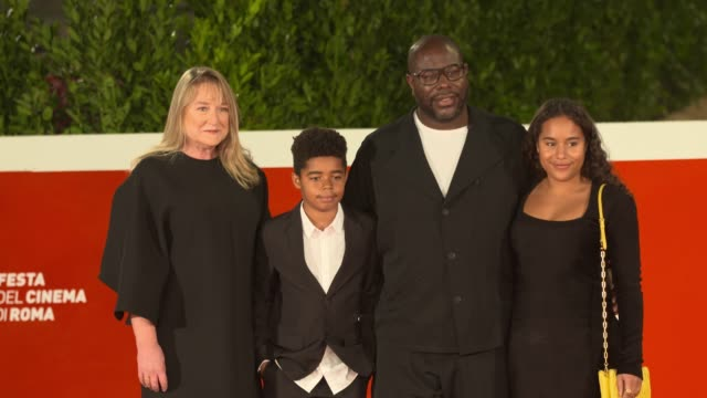 """bianca stigter, dexter mcqueen, steve mcqueen, alex mcqueen attend the red carpet of the movie """"small axe - ep. red white and blue"""" during the 15th... - rome film festival stock videos & royalty-free footage"""