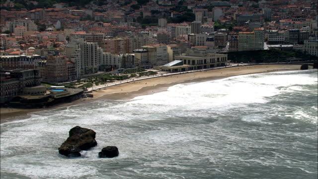 biarritz  - aerial view - aquitaine, pyrénées-atlantiques, arrondissement de bayonne, france - aquitaine stock videos and b-roll footage