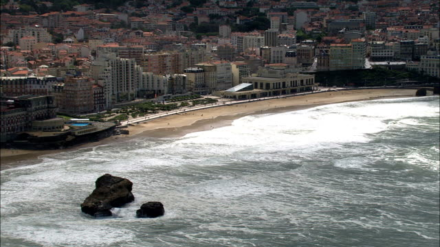 biarritz  - aerial view - aquitaine, pyrénées-atlantiques, arrondissement de bayonne, france - aquitaine stock videos and b-roll footage