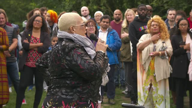 bibaa henry and nicole smallman murder: mina smallman speaks at vigil in fryent country park; england: london: wembley: fryent country park: ext mina... - crime and murder stock videos & royalty-free footage
