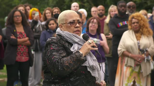 bibaa henry and nicole smallman murder: mina smallman speaks at vigil in fryent country park; england: london: wembley: fryent country park: ext dawn... - crime and murder stock videos & royalty-free footage