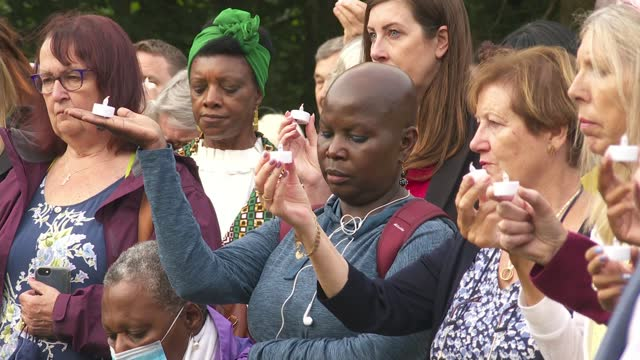 bibaa henry and nicole smallman murder: mina smallman speaks at vigil in fryent country park; england: london: wembley: fryent country park: ext... - crime and murder stock videos & royalty-free footage