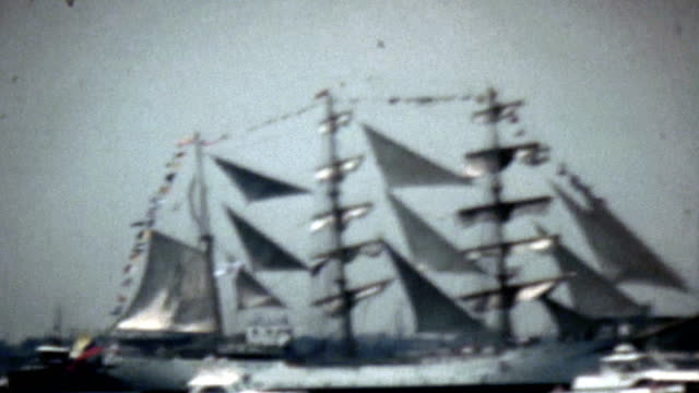 bicentennial parade of tall ships new york harbor - 1976 stock videos & royalty-free footage