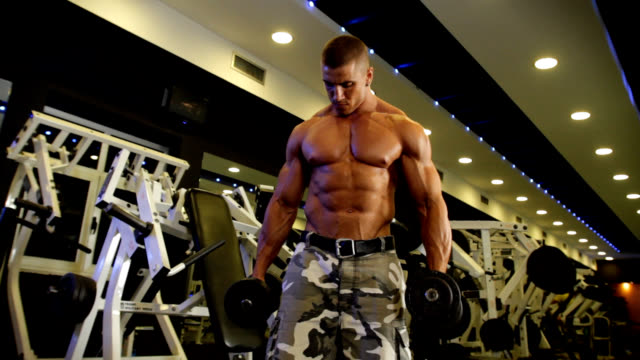 bizeps-curls im fitnessraum - menschlicher muskel stock-videos und b-roll-filmmaterial