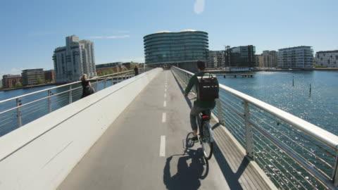 bicycle bridge - copenhagen stock videos & royalty-free footage
