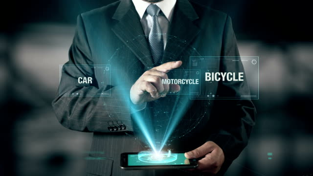 Bicycle Healthy Life Success Concept Businessman using digital tablet technology futuristic background