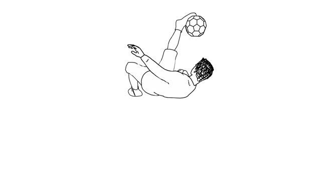 bicycle kick soccer goal - black line art - kicking stock videos & royalty-free footage