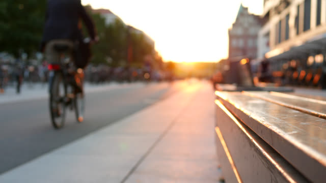 bicycle lane and pedestrian walkway at dusk - svezia video stock e b–roll