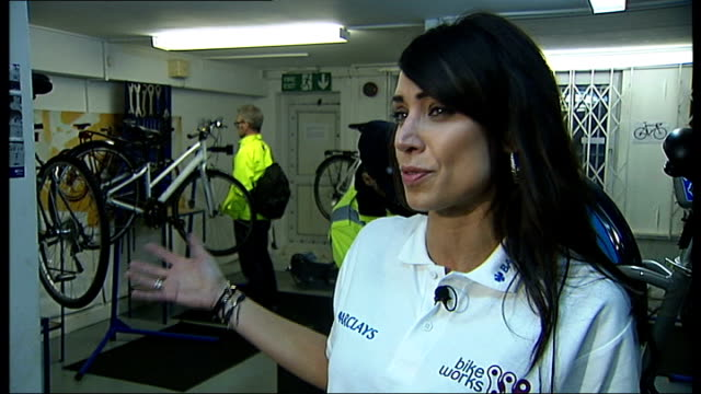 bicycle maintenance training scheme; int barclays hire bicyle being repaired bikeworks employee at work close shot bike wheel being tested reflective... - christine bleakley stock videos & royalty-free footage