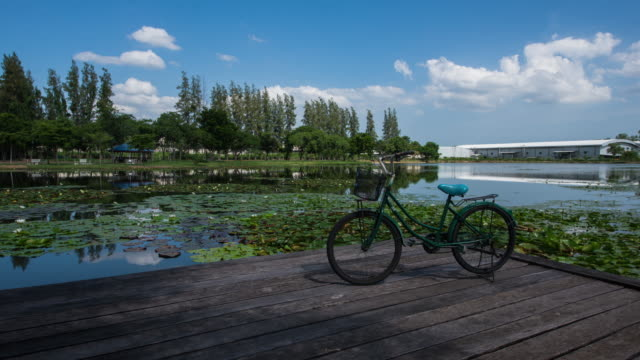 bicycle on lake and blue sky with clouds