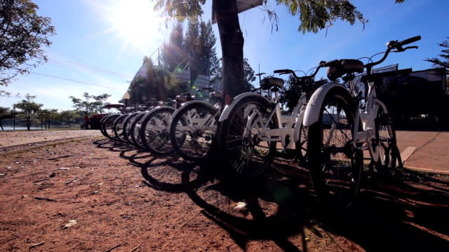Bicycle parking for visitors to rent.