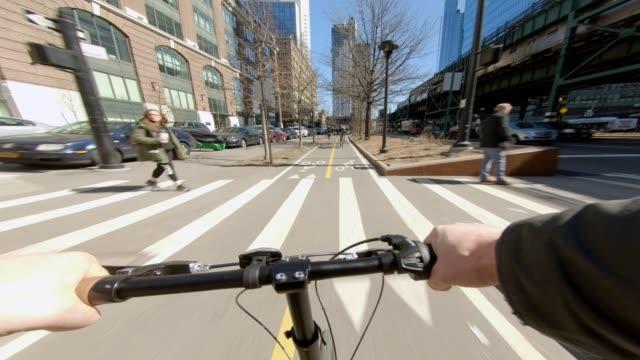 Bicycle pov Queens Astoria biking winter traffic
