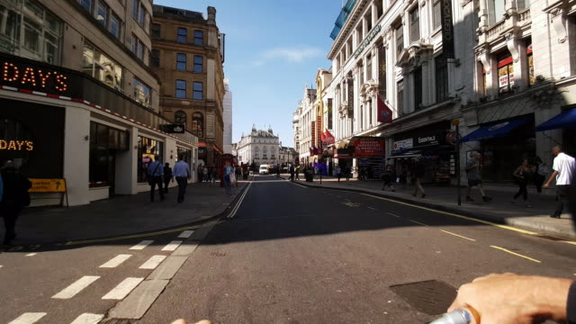bicycle ride from london leicester square to piccadilly circus - leicester square stock videos & royalty-free footage
