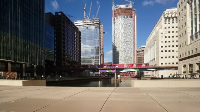 Bicycle Ride in London Canary Wharf Middle Dock
