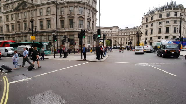 bicycle ride in london charing cross - road signal stock videos & royalty-free footage