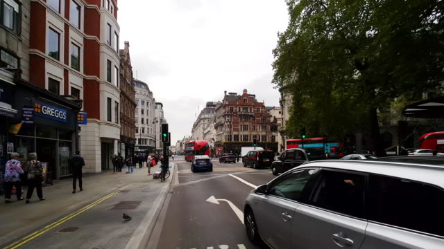bicycle ride in london the strand to the west - road signal stock videos & royalty-free footage