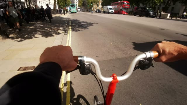 bicycle ride through london whitehall - handlebar stock videos & royalty-free footage