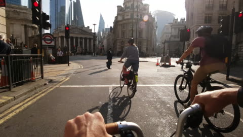 bicycle ride to royal exchange in london - riding stock videos & royalty-free footage
