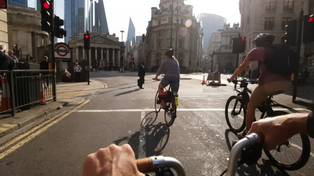 bicycle ride to royal exchange in london - bicycle stock videos & royalty-free footage