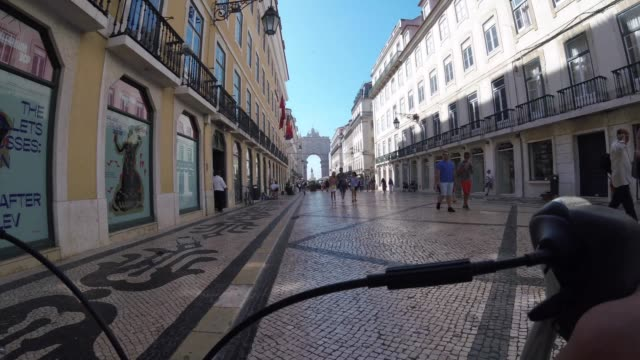 pov bicycle riding at lisbon, portugal - digital camcorder stock videos & royalty-free footage
