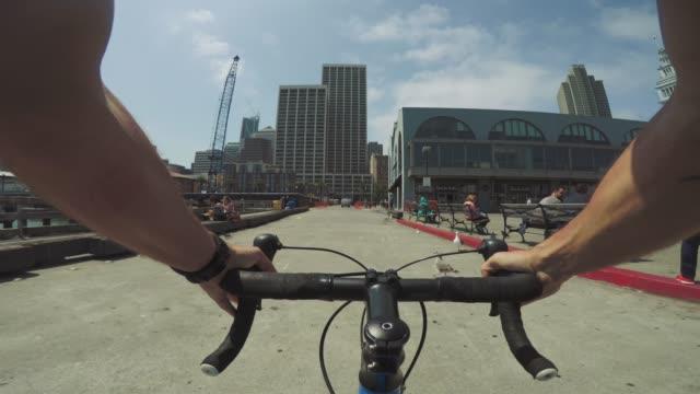 POV bicycle riding: at the Marina in San Francisco