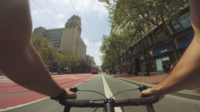 pov bicycle riding: commuter with road racing bike in san francisco - point of view stock videos & royalty-free footage