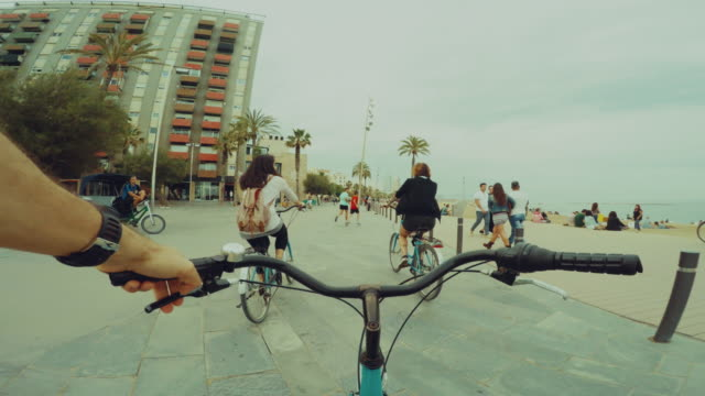 POV bicycle riding with two nice girls