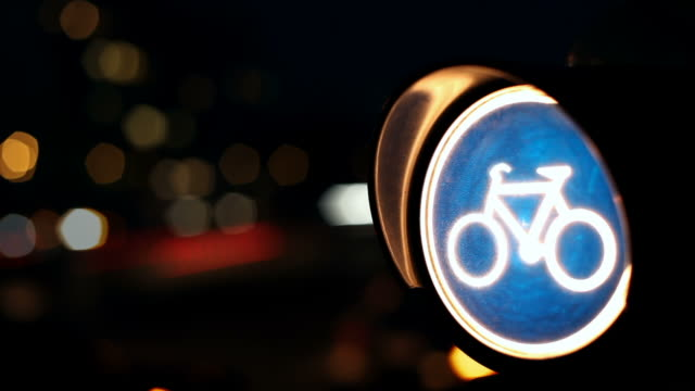 Bicycle traffic light in the night