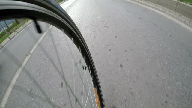 bicycle wheel on bicycle - ruota video stock e b–roll