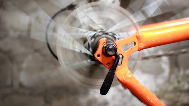 Bicycle wheel rotating