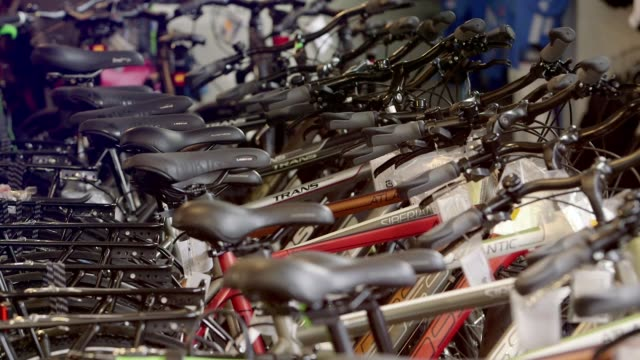 bicycles in shop - saddle stock videos & royalty-free footage