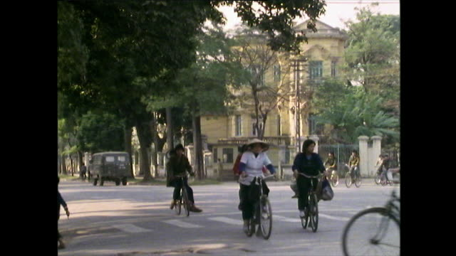 ws bicycles on street in french quarter of hanoi; 1989 - general view stock videos & royalty-free footage