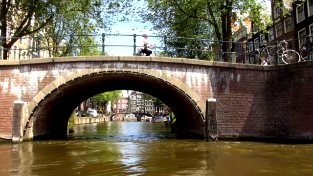 bicyclists - amsterdam, netherlands - canal stock videos & royalty-free footage
