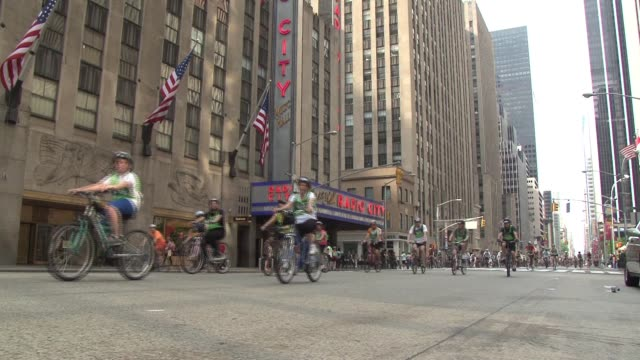 bicyclists roll past radio city music hall in new york city bicyclists past radio city music hall on january 01 2012 - radio city music hall stock videos and b-roll footage