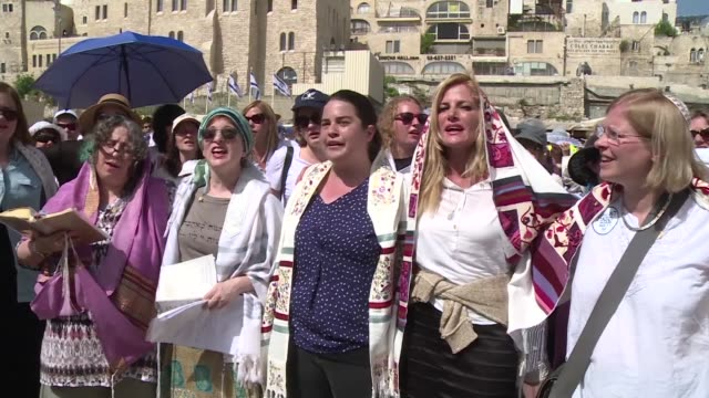 bid by a group of jewish women to challenge tradition at jerusalems western wall with a blessing usually conducted by men is curtailed after a... - judaism stock videos & royalty-free footage