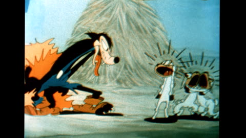 vidéos et rushes de big bad wolf preys on sheep - cartoon