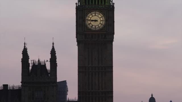 MS TU Big Ben against sky at sunset / London, UK