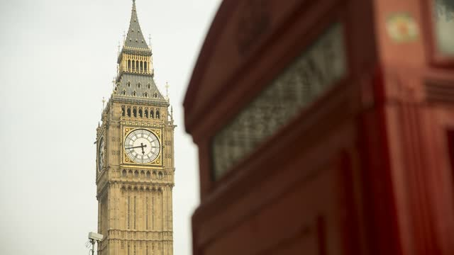 big ben and a red london telephone box ds - international landmark stock videos & royalty-free footage