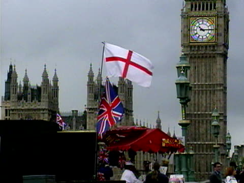 big ben and flags in london, england - 2001 stock videos & royalty-free footage